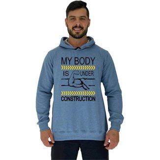 Blusa Moletom MXD Conceito Tradicional Com Touca My Body Is Under Construction Masculina