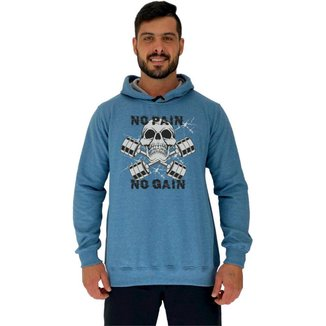 Blusa Moletom MXD Conceito Tradicional Com Touca No Pain No Gain Skull Masculina