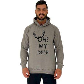Blusa Moletom MXD Conceito Tradicional Com Touca Oh My Deer Masculina