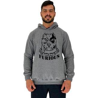 Blusa Moletom MXD Conceito Tradicional Com Touca Pitbull Furious Masculina