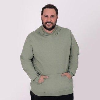 Blusa Moletom Plus Size Basicamente Tradicional Capuz Bolso Masculina