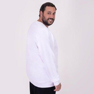 Blusa Moletom Plus Size Basicamente Tradicional Gola C Masculina