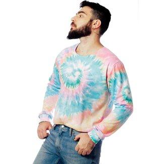 Blusa Moletom Tie Dye Estampado Elephunk Full Print Colorfull Masculina
