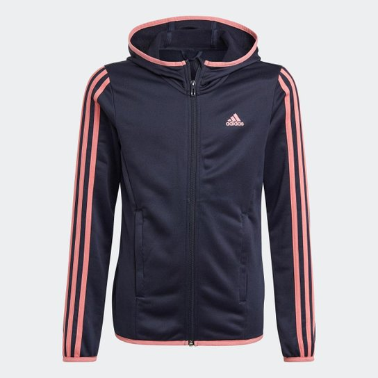 Blusa Moletom Zíper Capuz Designed To Move 3-Stripes Adidas - Azul