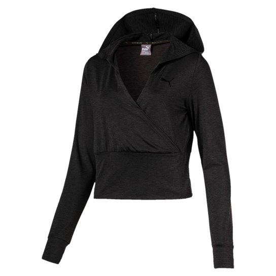 Blusa Puma Soft Sport Light Cover Up Manga Longa Feminina - Preto