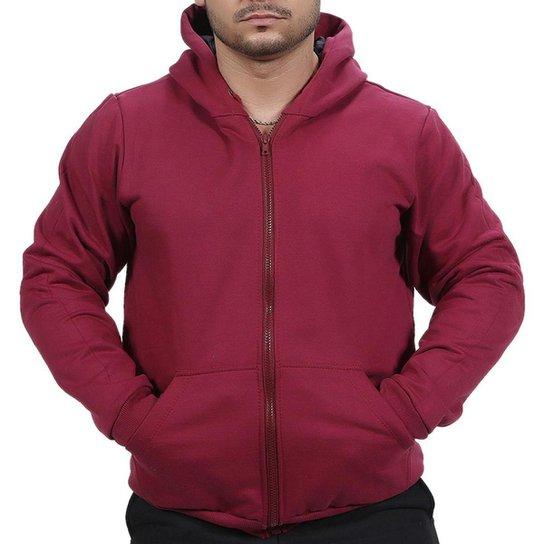 Blusa Ramazzoni Frio Moletom Ziper Masculina - Vermelho Escuro
