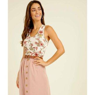Blusa Regata Feminina Nadador Estampa Floral Marisa - 10046087577