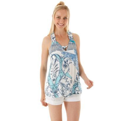Blusa sem manga com faixa única costas estampado e detalhe no decote v frente Feminina - Feminino