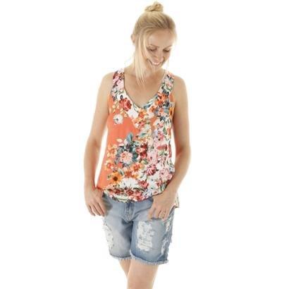 Blusa Sem Manga Estampa Floral Com Decote V e Trançado Cruzado Costas AHA Feminina - Feminino