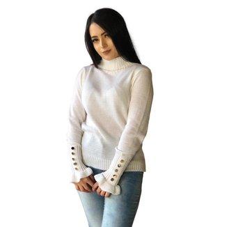 Blusa Suéter Feminino Tricot Gola Alta Detalhe Na Manga Em Botões