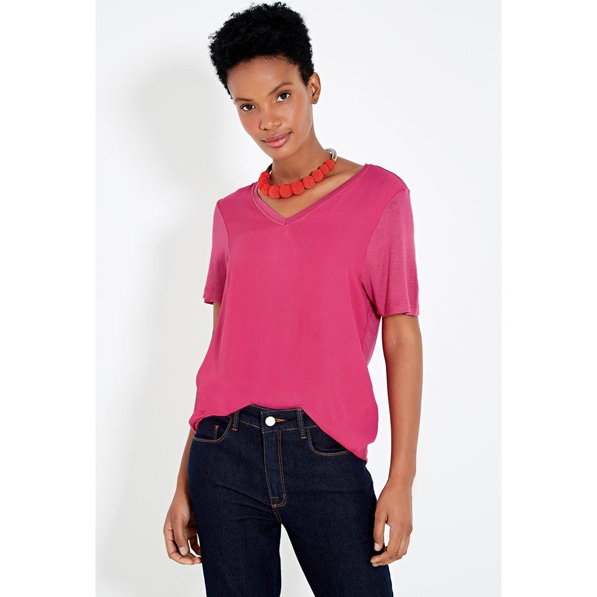 Basic Tecido Rosa Rosa Malha Malha Blusa E E Tecido Basic Blusa Blusa 0TvTqEPg