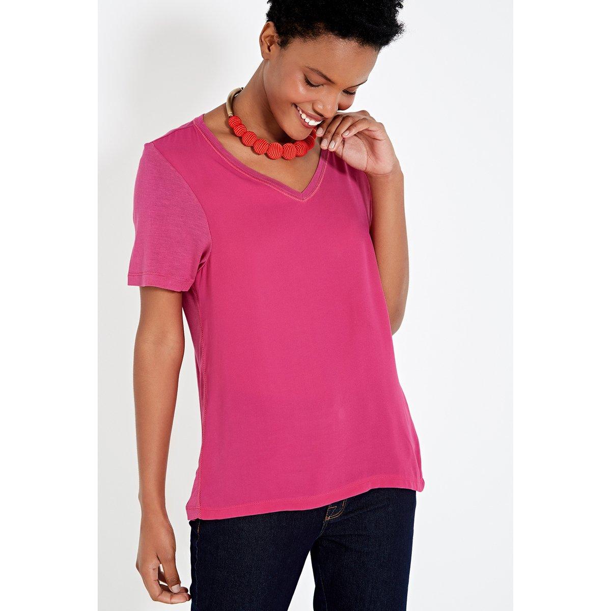 Tecido Basic Blusa E Tecido E Basic Rosa Rosa Blusa Blusa Malha Tecido Malha EgqxSRwnU