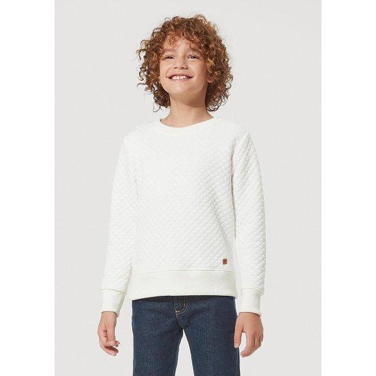 Blusão Básico Infantil Feminina Matelassê Hering Kids - Branco