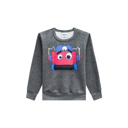 Blusão de Moletom Infantil Masculino Estampa Robô - CINZA - 6