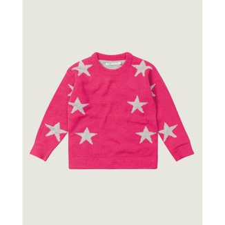 Blusão Estrelas Tricô Menina Malwee Kids Rosa Escuro - 2 Malwee Kids