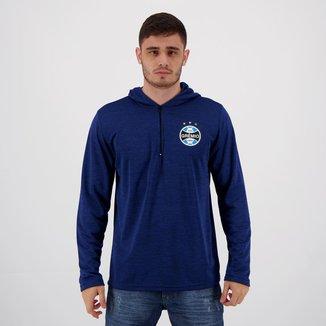 Blusão Grêmio Hoodie Azul Mescla