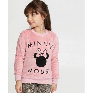 Blusão Infantil Disney Moletom Pelúcia Bordado Minnie Feminina