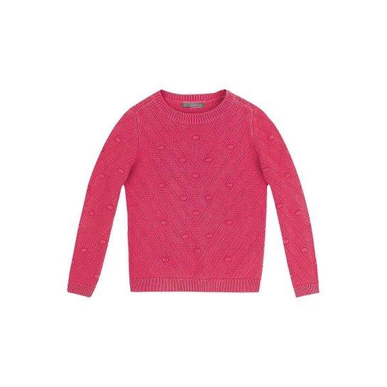 Blusão Infantil Hering Tricot Jacquard Feminina - Rosa