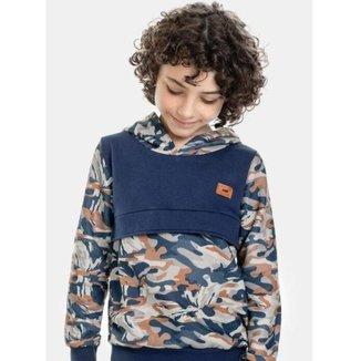 Blusão Infantil Marlan com Capuz Camuflagem