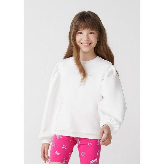 Blusão Infantil Menina Em Moletom Com Mangas Bufantes - 54N8KSCEN9 - Off White