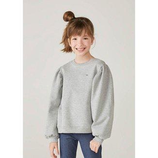 Blusão Infantil Menina Em Moletom Com Mangas Bufantes - 54N8NMCEN1