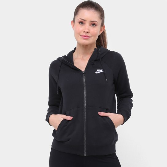 Blusão Nike Sportswear Essential Hoddie Feminino - Preto+Branco