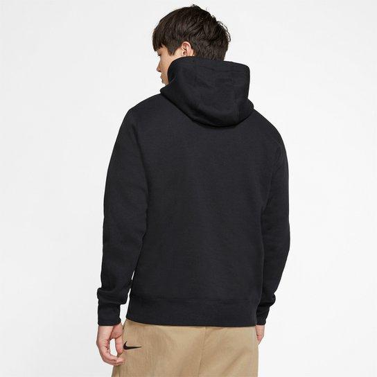 Blusão Nike Sportwear Club Hoodie Basic Masculino - Preto+Branco