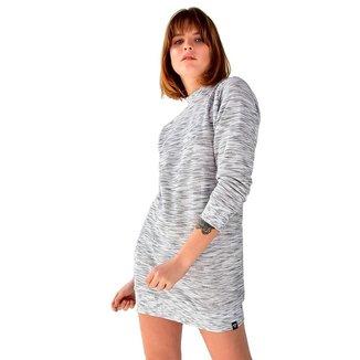 Blusão Vestido Moletom Manga Longa Brohood Riscado Feminino