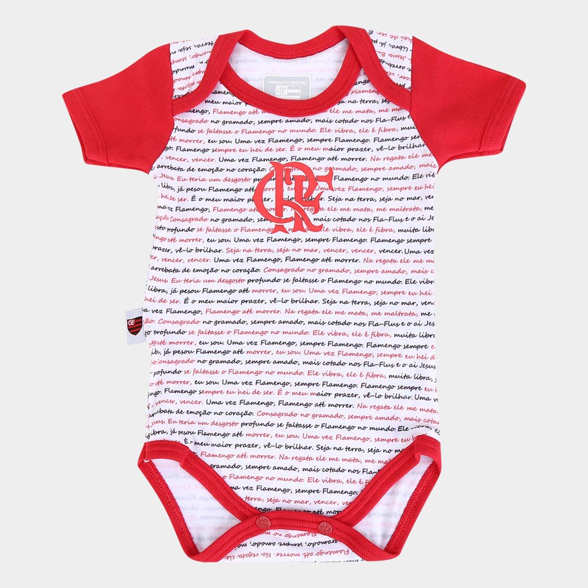 Body Bebê Flamengo Frases Branco E Vermelho