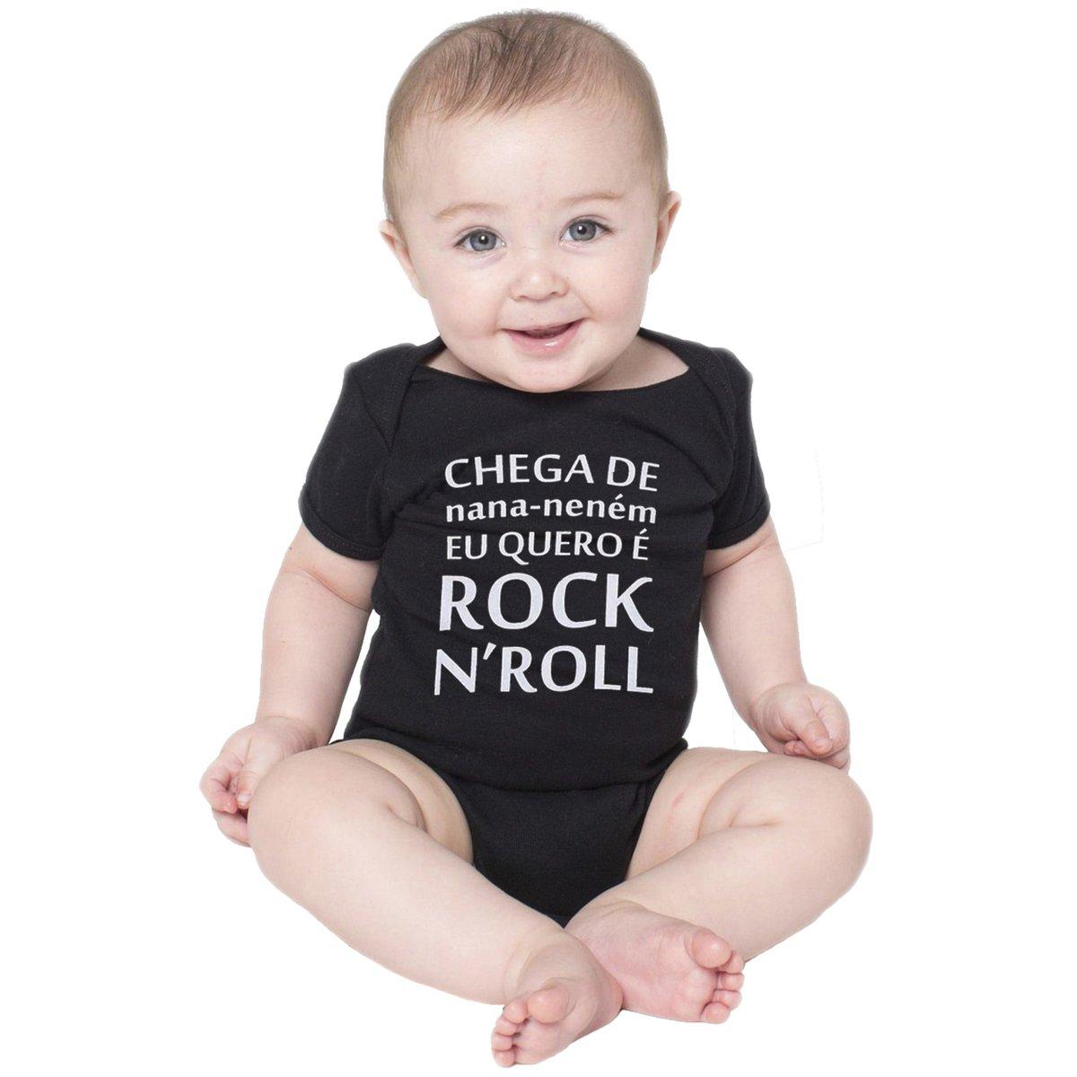 79b50e2da Body Bebe Frases Engraçadas Banda de Rock n  Roll Criativa Urbana - Preto -  Compre Agora