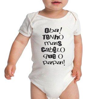 Body Bebe Frases Engraçadas Mais Cabelo que Papai Pai Criativa Urbana