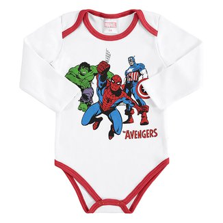 Body Bebê Marvel Avengers Manga Longa Suedine Masculino