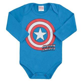 Body Bebê Marvel Capitão América Manga Longa Suedine Masculino
