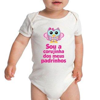 Body Criativa Urbana Bebê Frases Engraçadas Corujinha dos Dindos Dinda Dindo Padrinhos