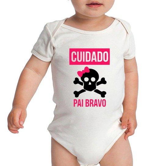 Body Criativa Urbana Bebe Frases Engraçadas Cuidado Pai Bravo Papai Criativa Urbana - Branco