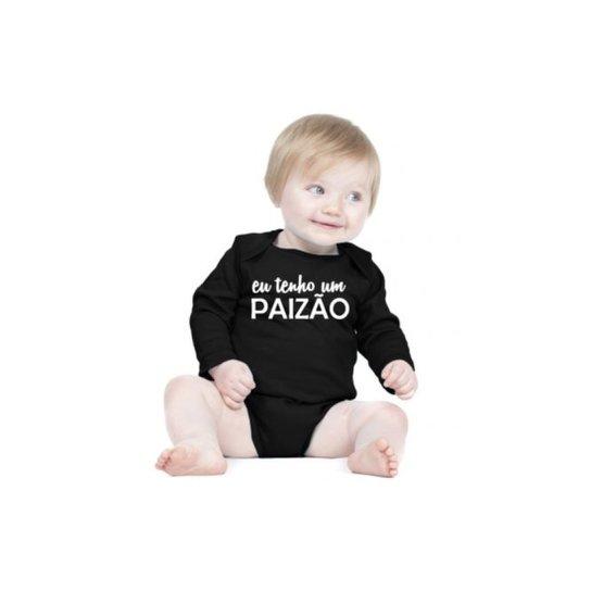 Body Criativa Urbana Bebê Frases Engraçadas Eu Tenho Um Paizão Manga Longa - Preto