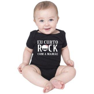 Body Criativa Urbana Bebê Frases Engraçadas Rock com a Mamãe Mãe