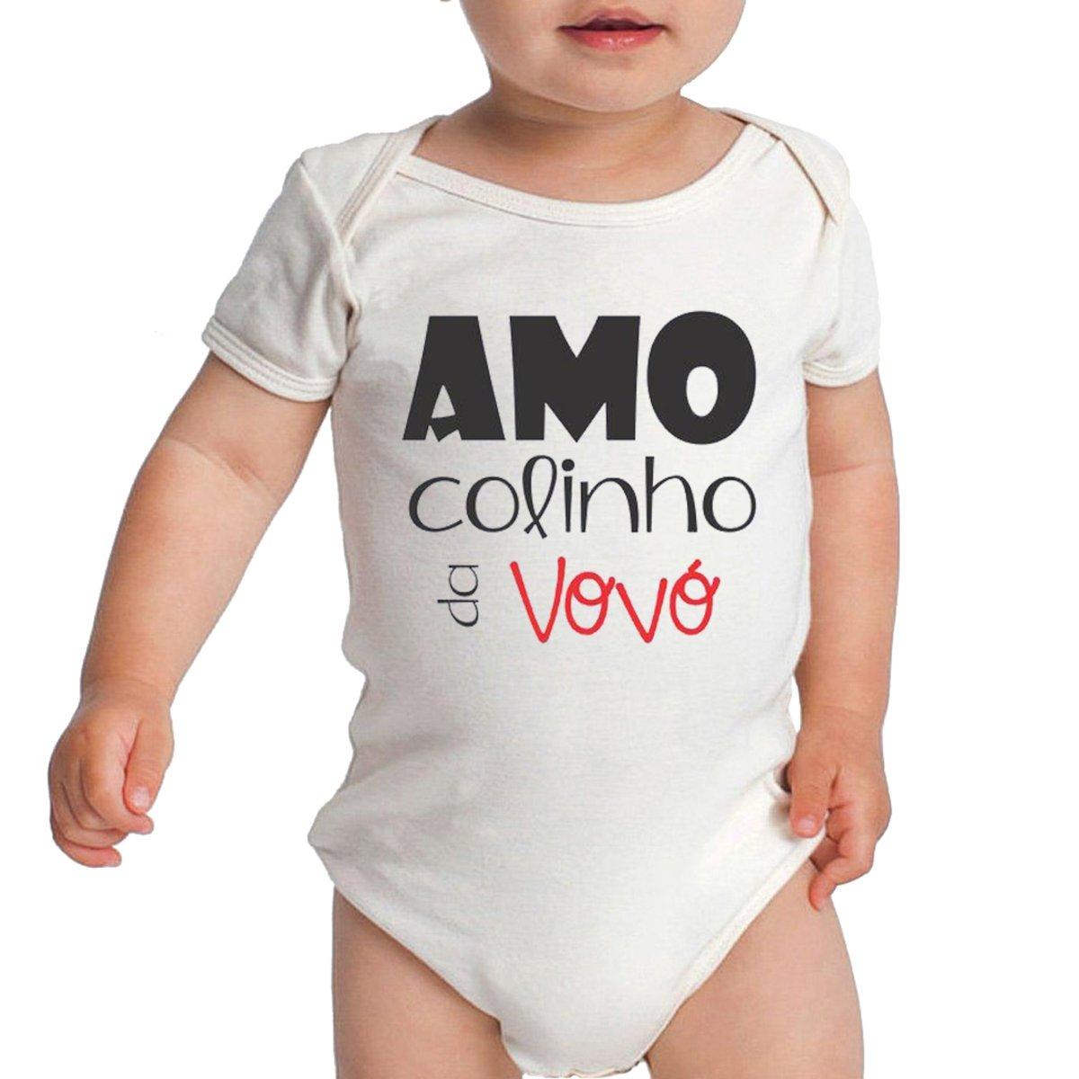 Body Criativa Urbana Bebê Frases Fofas De Vovó Amo Colinho Branco