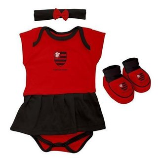 Body Flamengo Bebe + Pantufa + Lacinho Menina Oficial