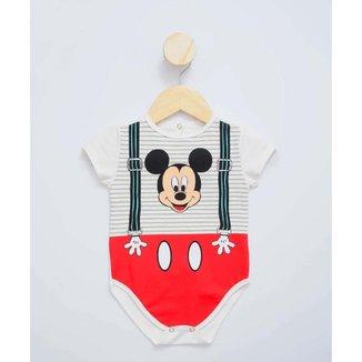 Body Infantil Bebê Listrado Mickey Disney Tam 0 A 12 Meses - 10047922365