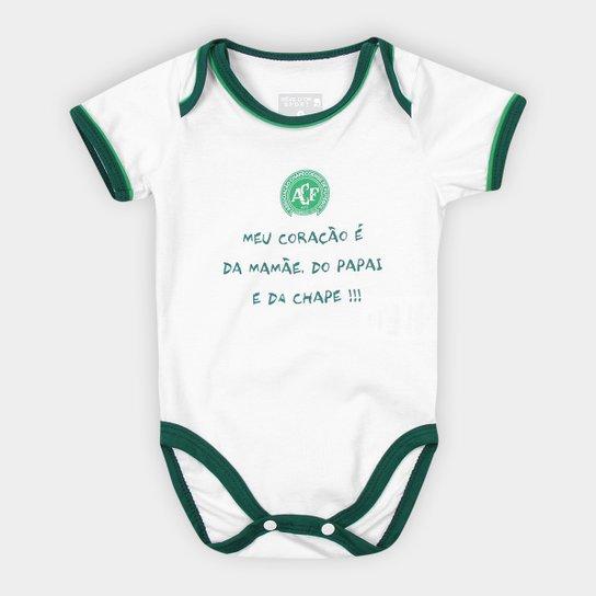 Body Infantil Chapecoense Meu Coração - Branco+Verde