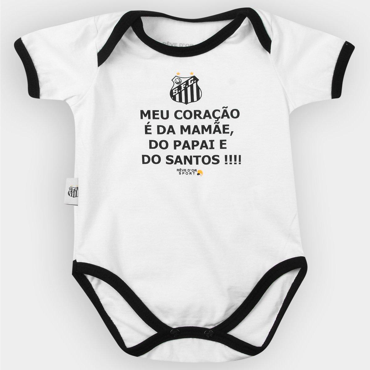 0f1410a51e Body Santos Infantil  Meu Coração É...  Bebê - Preto e Branco ...