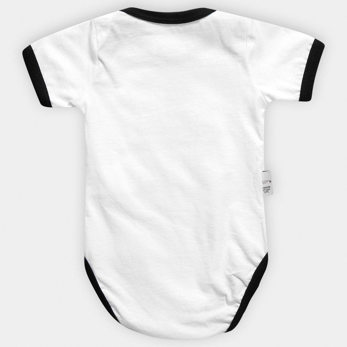Body Santos Infantil Oficial Bebê - Branco e Preto - Compre Agora ... 8eacc2b9c8b89
