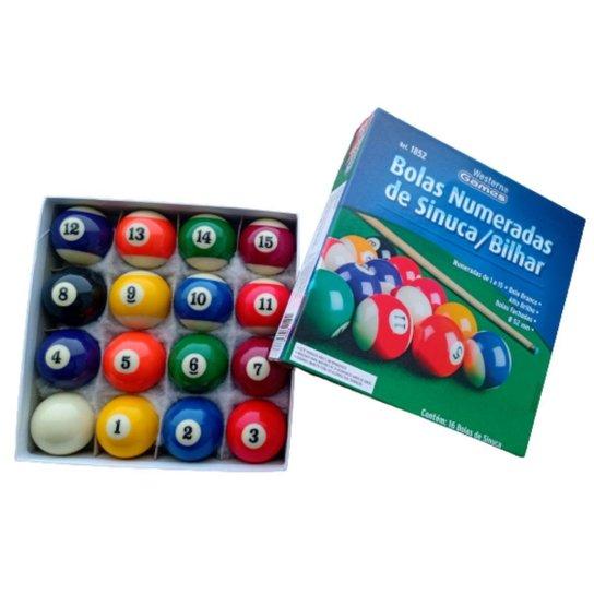 Bola Bilhar Snooker Sinuca 16 Bolas 52 Mm Numeradas Caixa - Preto