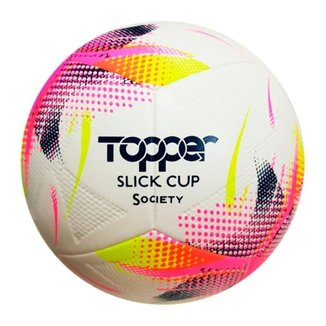 Bola de Futebol Campo Topper Slick Cup Branco e Rosa