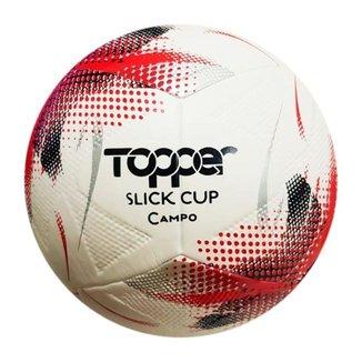 Bola de Futebol Campo Topper Slick Cup Branco e Vermelho