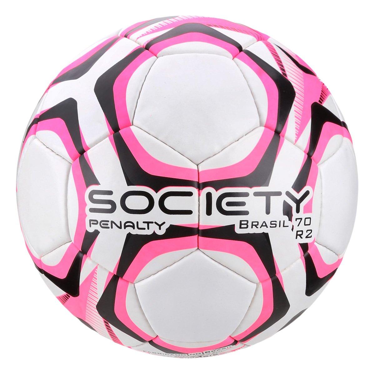 Bola de Futebol Society Penalty Brasil 70 R2 LX - Branco e Rosa