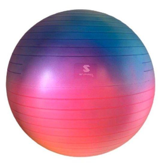 Bola de Pilates Suiça Premium Cores Únicas Tie Dye 60 - Rosa+Azul