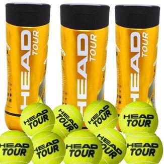 Bola de Tênis Head Tour - Pack com 3 Tubos de 3 Bolas cada