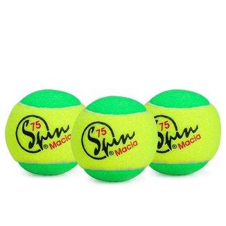 Bola de Tênis Spin 75 Verde Pack com 03 Unidades - Estagio 1